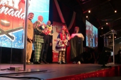 Don Cherry & Ron MacLean (on stage presenting them a balloon tribute!)