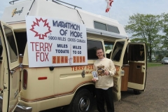 Terry Fox van (Sign showing Terry's daily walk)